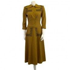 40s vintage dress with felt applique