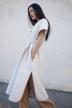 CristaSeya Felted Wool Caftan in Cream