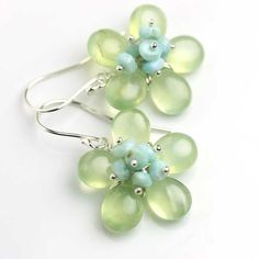 Flower Earrings of Green Prehnite, Blue Larimar and Sterling Silver