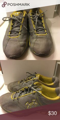 Under Armour sneakers Grey with yellow piping Under Armour sneakers. Good used condition Under Armour Shoes Sneakers