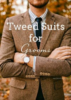 Grooms & Groomsmen in Tweed Suits | SouthBound Bride