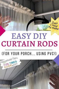 See how I made these easy DIY outdoor curtain rods in just 1 hour... and cost less than $15 to make! Cheap Curtain Rods, Outdoor Curtain Rods, Pipe Curtain Rods, Window Curtain Rods, Cheap Curtains, Outdoor Curtains, Curtain Panels, Porch Curtains, Burlap Curtains