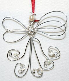 Wire Angel Ornament with Beads.