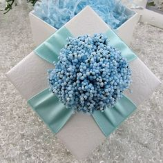 Blue Square Favor Box with Flowers ( 20 pcs Sets ). NOW Only around $1.25 each with free US and Int'l shipping