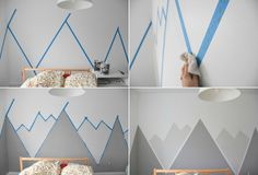 Stylized mountain drawing in color to decorate the walls of the room design . - Stylized mountain drawing in color to decorate the walls of the room Design montagne stylisé en co - Baby Boy Rooms, Baby Bedroom, Bedroom Wall, Kids Bedroom, Nursery Room, New Swedish Design, Mountain Drawing, Geometric Decor, Bedroom Murals