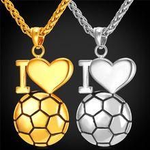 Collar Colgante de fútbol Me Encanta Encantos de Fútbol Deporte de Acero Inoxidable de la Joyería/Cadena de Oro Para Los Hombres 2016 Nuevo GP2269(China (Mainland))