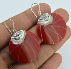 1.6 inch Red Nautilus Shell 925 Sterling Silver by Gingsir on Etsy, $11.00