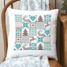 Winter Woods Sampler Pillow Cover Counted Cross-Stitch Kit - Herrschners