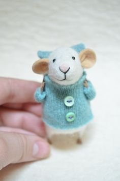 Little Traveler Mouse with recycled swaeter - unique - needle felted ornament animal, felting dreams made to order. $68.00, via Etsy.