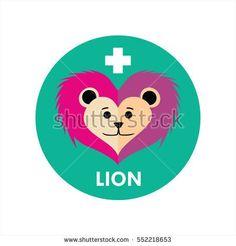 Cute Lion Face Flat Design Icon Illustration