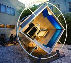 Jimenez Lai of Bureau Spectacular tries to create an anti gravity moment with a rotating living module that makes use of every inch of space. Dynamic Architecture, Interior Architecture, Interior Design, Container Architecture, Module Design, Interactive Installation, Indoor Outdoor, Outdoor Decor, Green Building