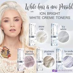 Platinum Blonde Hair Color, Blonde Hair Care, Bleach Blonde Hair, Blonde Hair Products, Silver White Hair, White Blonde Hair, White Hair Toner, Ion Hair Colors, Ion Color Brilliance