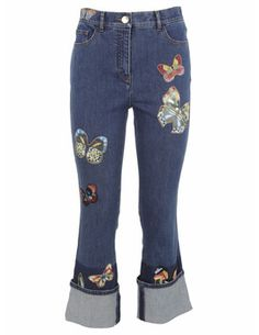 Royal wolf denim jeans manufacturer dark blue faded wash butterfly embroidery flare butterfly embroidered jeans