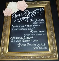 Wedding Hors DOeuvres Chalk Menu By HttpDesignbyljWordpress