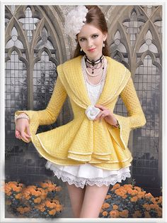 Morpheus Boutique  - Yellow Knit Layer Collar Long Flare SleeveJacket