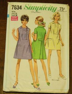 Simplicity7634 1960s 60s Mod Dress Tunic by EleanorMeriwether, $5.00