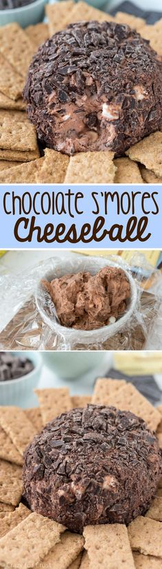 ****Chocolate S'mores Cheeseball Dip - this easy recipe is perfect for any party! It's chocolate, marshmallow, and s'mores all in one sweet appetizer dip recipe! Can also use mini chocolate chips to coat, Dessert Dips, Party Desserts, Just Desserts, Delicious Desserts, Yummy Treats, Sweet Treats, Dessert Recipes, Yummy Food, Baking Recipes