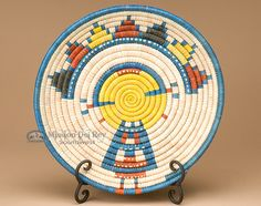 "Hand Coiled Basket & Stand 11.5"" -Kachina (b56) - Mission Del Rey Southwest"
