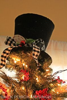 Snowman hat Christmas tree topper: Back Porch Musings