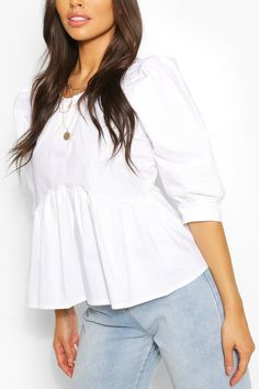 Puff Sleeve Peplum Top Tops Peplum, Tunic Tops, Petite Fashion Tips, Fashion Face Mask, Latest Tops, Online Shopping Clothes, Celebrity Style, Women Wear, Fashion Looks