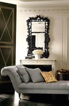 Menswear-inspired Glen Plaid fabric on the feminine Ralph Lauren Home's Westminster chaise lounge