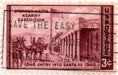 US postage stamp, 3 cents.  Stephen Watts Kearny Expedition.  1846 Entry into Santa Fe, New Mexico.  Issued 1946.  Scott catalog 944.