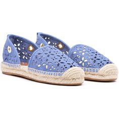 MICHAEL Michael Kors Flat Shoes ($87) ❤ liked on Polyvore featuring shoes, flats, denim, embroidered shoes, rubber sole shoes, blue flats, closed toe flats and flat shoes
