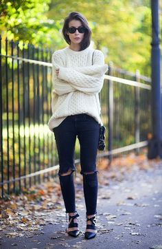 chunky sweater and ripped jeans