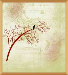 One Bird In Red Tree Print/Giclee