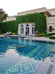 Outdoor pool in spa area of the grounds at Taj Rambagh Palace hotel, Jaipur, Rajasthan, India