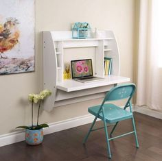 New White Floating Wall-Mount Desk w Storage, Computer Home Office Student Dorm #Prepac #Modern