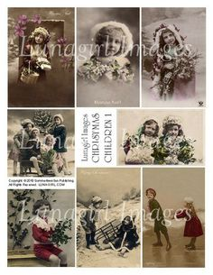 vintage photos Christmas images Victorian children in snow holidays digital collage sheet
