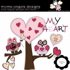 Valentine Owls Cliparts - COMMERCIAL USE OK