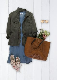 A take-it-anywhere tote should be part of every woman's closet. This laser-cut style from SONOMA Goods for Life is just the ticket with an interior roomy enough for farmers market flowers and more. Featured product includes: SONOMA Goods for Life dress, jacket and tote, and LC Lauren Conrad floral tennies. Get the right spring mix at Kohl's.