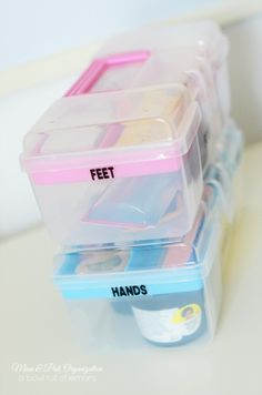 Organize all your mani and pedi supplies to keep things at your fingertips! Via A Bowl Full of Lemons