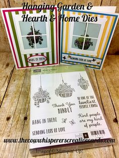Card Hanging Garden Hearth Home Stampin Blends Hanging Planters, Hanging Baskets, Garden Planters, Hanging Gardens, Organic Plants, Organic Gardening, Gardening Blogs, Window Cards, Hearth And Home