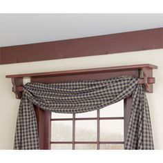 Red Window Shelf with curtain rod in Red