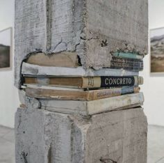 """Knowledge is foundation of everything. (Caption by: """"Pillars"""" is an installation by Ishmael Randall Weeks, depicting columns made of concrete and books. Street Art, Instalation Art, Urbane Kunst, Art Photography, Street Photography, Concrete Art, Banksy, Public Art, Urban Art"""