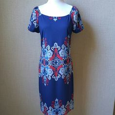 """Beautiful patterned dress Red, white, and blue! Great condition. Size is woman's small. Polyester/ spandex. 35"""" length. Sunny Leigh Dresses"""