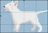 Bullterrier (vit) Cross Stitch Charts, Cross Stitch Patterns, Dog Crafts, Cross Stitch Animals, Dog Pattern, Craft Corner, Beaded Animals, Knitting Charts, Bargello