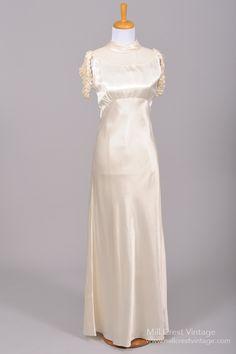 1930 Silk Satin Cascade Vintage Wedding Gown : Mill Crest Vintage