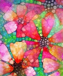 Flower art-  watercolor and alcohol background