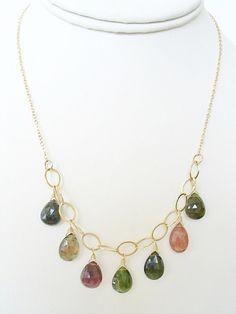 Tourmaline Multi Color Necklace 14K Gold Filled