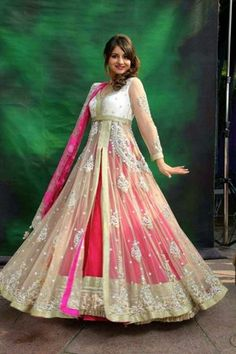fashion, Indian, traditional, dress, layered, pink, cream, details, love, gorgeous,