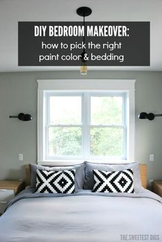 DIY bedroom makeover: tips for picking the right paint color (especially the right gray!) and bedding - via the sweetest digs