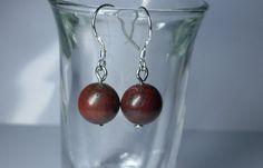 Red Brecciated jasper ball earrings. Beautiful by BodyBuzzz