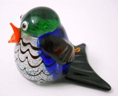 New Hand Blown Glass Blue Songbird Singing Blue Body Orange Open Beak Stripes