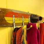 add hooks to those wooden waterski....for outside shower and laundry?  Vintage water ski towel hooks.