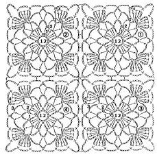 Easter Crochet Patterns, Crochet Square Patterns, Crochet Blocks, Crochet Diagram, Crochet Chart, Filet Crochet, Crochet Stitches Patterns, Joining Crochet Squares, Motifs Granny Square