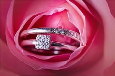 White gold and diamond engagement and wedding rings